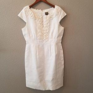 Taylor white linen rossett detail dress size 10